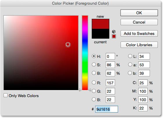 Выбор красного цвета для нового цвета переднего плана из палитры цветов.