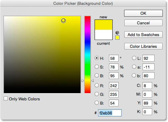 Выбор желтого цвета для нового цвета фона из палитры цветов.