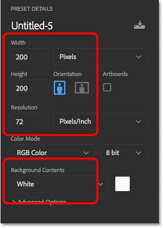 Новые настройки документа Photoshop