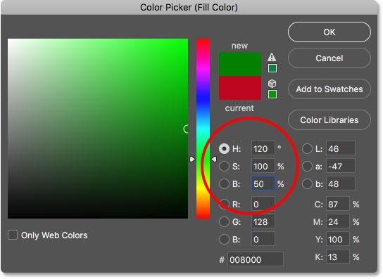 Выбор зеленого цвета из палитры цветов в фотошопе