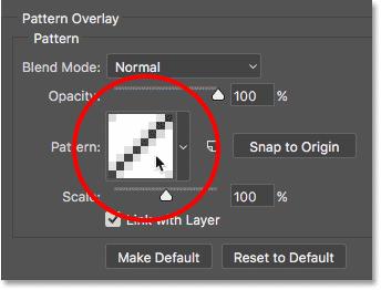 Щелкнув образец в параметрах «Наложение рисунка» в Photoshop