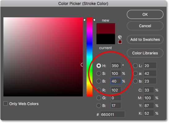 Выбор красного для цвета обводки в палитре цветов