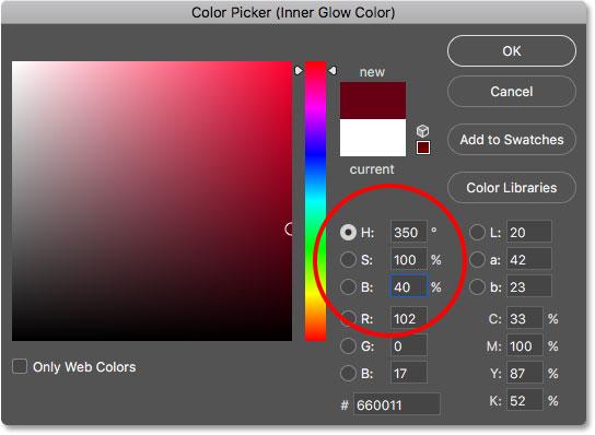 Выбор нового цвета для стиля слоя Inner Glow