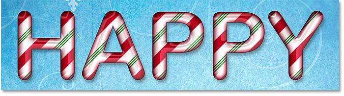 Буквы из конфет, созданные в Photoshop с использованием стилей слоев