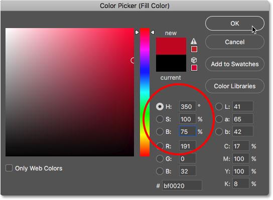 Выбор конфетного красного тростника из палитры цветов в фотошопе