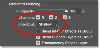 Опция нокаута в Photoshop Advanced Blending options
