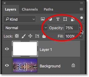 Параметр непрозрачности слоя Photoshop на панели «Слои»