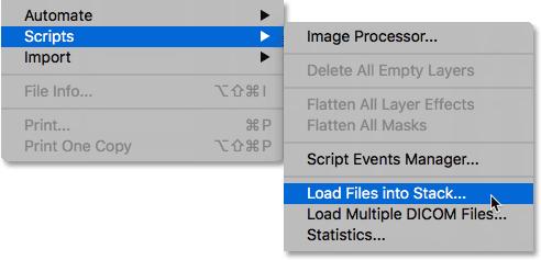 Выбор команды «Загрузить файлы в стек» в Photoshop.