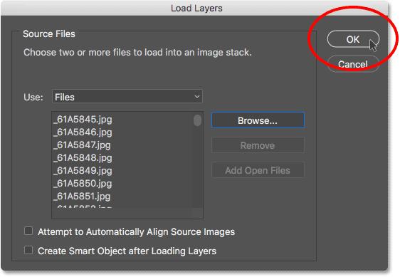 Нажмите кнопку ОК, чтобы загрузить изображения в Photoshop.