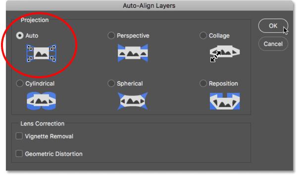 Диалоговое окно «Автоматическое выравнивание слоев» в Photoshop.