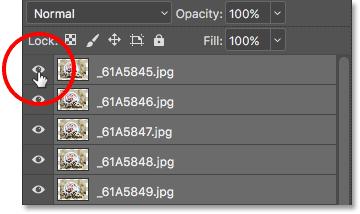 Удерживая Alt (Win) / Option (Mac) и нажимая значок видимости верхнего слоя.