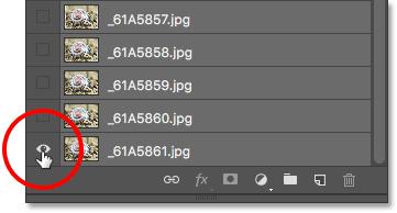 Удерживая Alt (Win) / Option (Mac) и щелкнув значок видимости нижнего слоя.