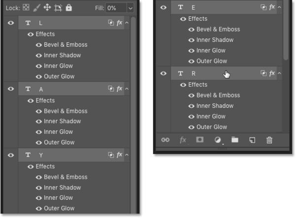 Панель «Слои» в Photoshop, показывающая эффект слоя, скопированный в несколько слоев