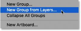 Выбор команды «Новая группа из слоев» в Photoshop