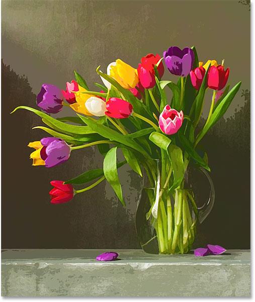 Эффект акварельной живописи в режиме наложения Lighten