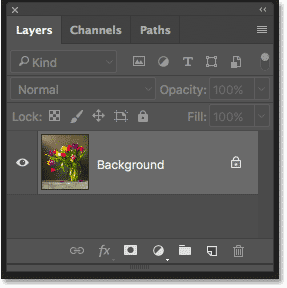 Панель «Слои» в Photoshop CS6 с фоновым слоем.  Изображение © 2013 Photoshop Essentials.com