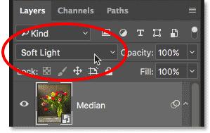 Изменение режима наложения медианного слоя на Soft Light.  Изображение © 2013 Photoshop Essentials.com