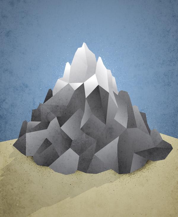 Низкополигональная гора иллюстрация