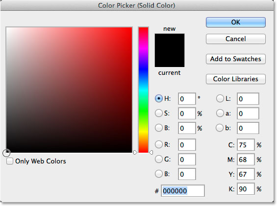 Выбор черного цвета из палитры цветов.