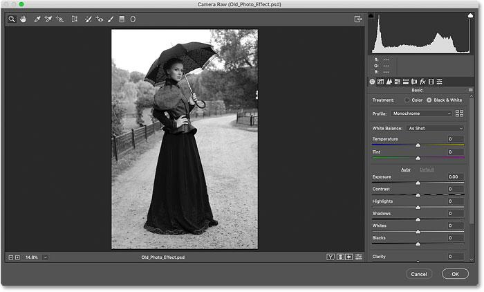 Начальное черно-белое преобразование для старого фотоэффекта в Photoshop