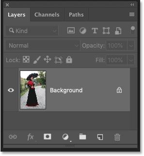 Панель «Слои» в Photoshop CC, показывающая оригинальную фотографию на фоновом слое
