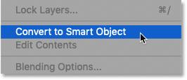 Команда «Преобразовать в смарт-объект» в меню панели «Слои» в Photoshop