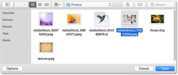 Выбор фотографии для открытия в качестве смарт-объекта в Photoshop