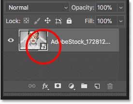 Панель «Слои» показывает изображение, уже преобразованное в смарт-объект