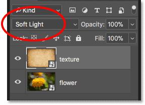 Изменение режима наложения смарт-объекта в Photoshop