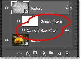 Панель «Слои», показывающая смарт-объект «Camera Raw Filter» в Photoshop