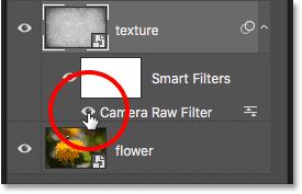 Отключение интеллектуального фильтра Camera Raw на панели «Слои» в Photoshop