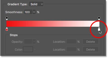 Двойной щелчок на остановке белого цвета в градиентном редакторе