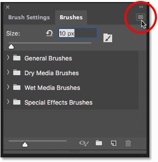 Нажмите на значок меню панели «Кисти» в Photoshop CC 2018.