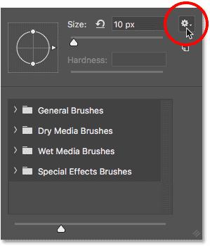 Нажмите на значок шестеренки в инструменте выбора кистей в Photoshop, чтобы открыть меню.