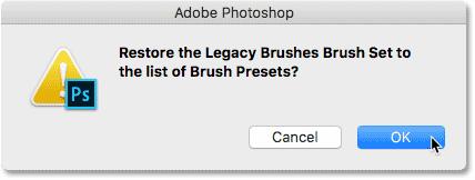Восстановите набор кистей Legacy Brush в список предустановок кисти в Photoshop CC 2018