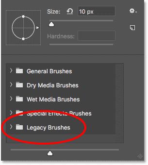 Набор кистей Legacy был загружен в Photoshop CC 2018.