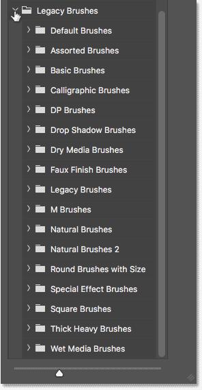 Набор кистей Legacy Brushes в Photoshop CC 2018 показывает все недостающие наборы из более ранних версий Photoshop