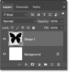 Форма появляется на слое Shape на панели Layers.