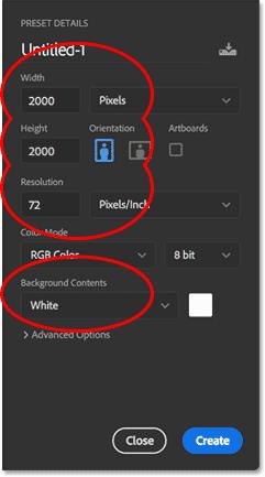 Создание нового документа в Photoshop CC.
