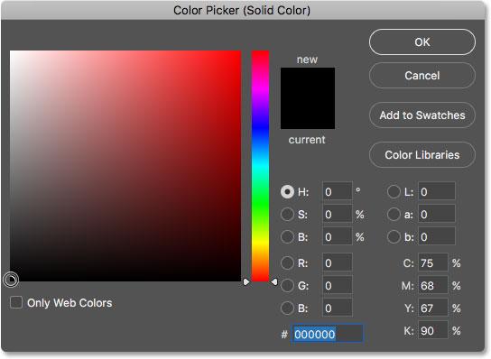 Выбор черного и нового цвета фона из палитры цветов