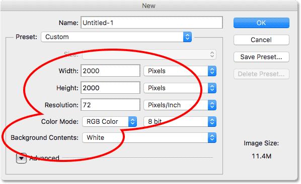 Создание нового документа в Photoshp CS6.