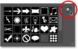 Щелкнув по значку меню для выбора пользовательской фигуры в Photoshop.