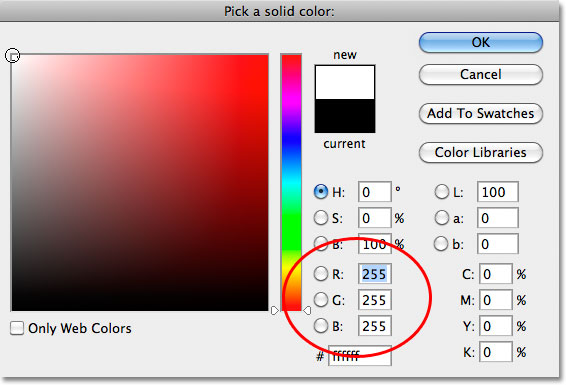 Выбор белого из палитры цветов в фотошопе.  Image © 2010 Photoshop Essentials.com.