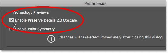 Включите высококлассное обновление Preserve Details 2.0 в настройках Photoshop
