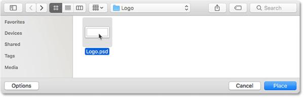 Выбор файла логотипа, который будет размещен в виде водяного знака