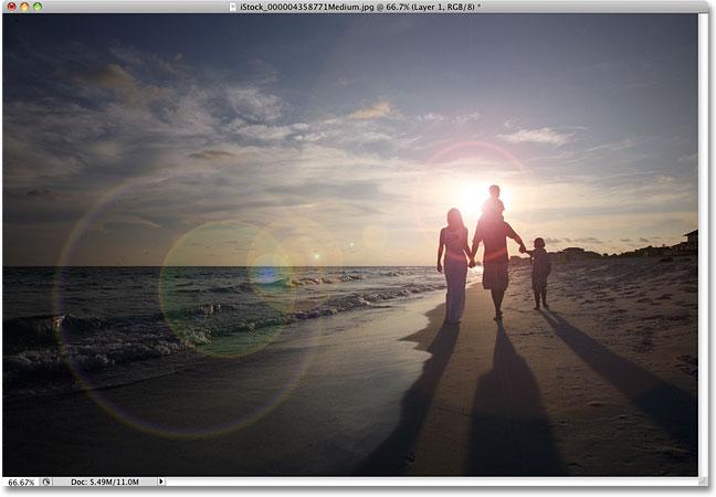 Photoshop эффект бликов объектива.