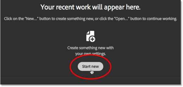 Нажмите кнопку «Создать», чтобы создать новый документ Photoshop.  Image © 2016 Стив Паттерсон, Photoshop Essentials.com