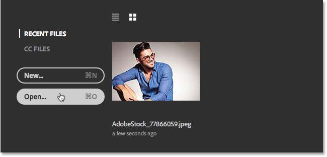Нажмите кнопку Открыть, чтобы открыть второе изображение в Photoshop.  Image © 2016 Стив Паттерсон, Photoshop Essentials.com