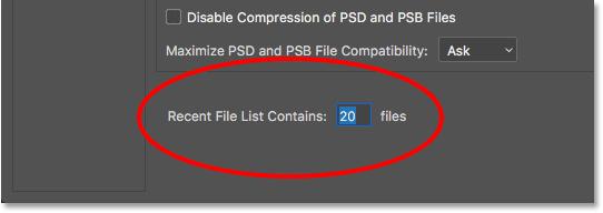 Список последних файлов содержит опцию «Обработка файлов».  Image © 2016 Стив Паттерсон, Photoshop Essentials.com