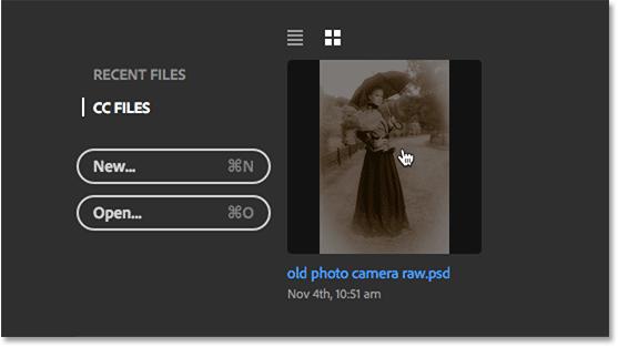 Открытие PSD-файла из Creative Cloud.  Image © 2016 Стив Паттерсон, Photoshop Essentials.com